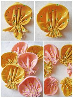 Ribbon flowers to makensell for sosafrica childrenscharity another wonderfully quickneasy fundraisingidea – Artofit Photo from album Fabric Flower Pins, Fabric Flower Brooch, Fabric Flower Tutorial, Fabric Ribbon, Ribbon Flower, Bow Tutorial, Ribbon Hair, Hair Bows, Cloth Flowers