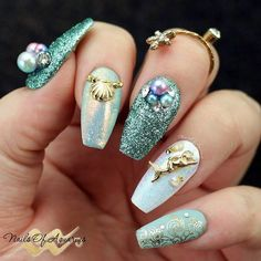 Dreamy Mermaid Round Pearls Nail Art Decorations Summer Nail Ideas - #nails #stiletto #stilettonails #nail