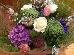 Summer Gift Bouquet wrapped in natural weave. We love seasonal flowers at gailarmytage.co.uk