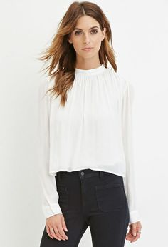 FOREVER 21 contemporary cropped high-neck blouse