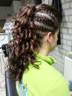Hair, curly  mohawk with braid