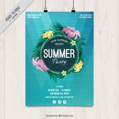 Summer party poster with flowers Free Vector