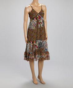 Look what I found on #zulily! Black & Magenta Floral Patchwork Sleeveless Dress #zulilyfinds