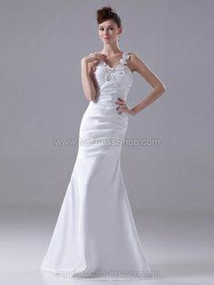 Trumpet/Mermaid Straps Elastic Woven Satin Floor-length Appliques Prom Dresses