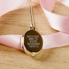 Silver Personalised New Mother Sentiment Locket