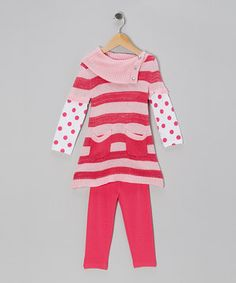 Love this Young Hearts Pink Stripe Layered Tunic & Leggings - Infant & Toddler by Young Hearts on #zulily! #zulilyfinds