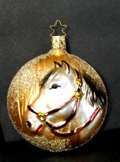 "Inge German 3D Horses Head Round Ornament 3"" Glass #Inge"