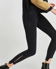 Image 6 of HIGH WAIST JEANS WITH METAL EYELETS from Zara Zara, Jeans For Sale, Rock Style, High Waist Jeans, Black Jeans, Skinny Jeans, Fashion Outfits, Clothes For Women, Denim