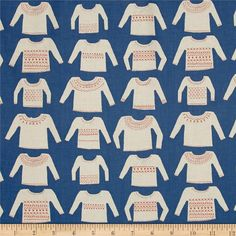 Designed by Alexia Marcelle Abegg for Cotton + Steel, this unbleached cotton print fabric features patterned sweaters with fun designs. Perfect for quilting, apparel and home decor accents. Colors include cream, orange and blue.