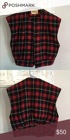 Vintage plaid vest Vintage plaid vest. Thick material, one button at the bottom. No size tag, fits like a small or small, let me know if you have questions! Hobbies Dallas Jackets & Coats Vests