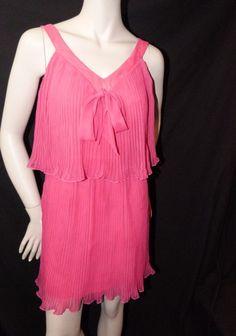 S 70s Prom Formal Boho YOUNG EDWARDIAN Pink Accordian Pleat Mini 2-Tier Dress