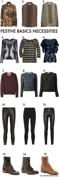 BLONDER AMBITIONS | LOOK OF THE WEEK – FESTIVE BASICS. fashion. lifestyle. fashion blog. fall. winter. layering. polka dots. leopard print. leather. spikes. cognac boots. holiday clothes.