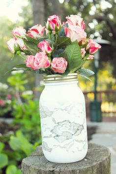 DIY Lace Vase - step by step tutorial using spray glitter and paint.