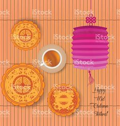 Mid Autumn Lantern Festival background with moon cake and tea. royalty-free…