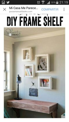 This easy DIY room décor tutorial transforms old picture frames into neat shelving that you'll want to hang everywhere in your home. From Shanty 2 Chic Picture Frame Shelves, Frame Shelf, Old Picture Frames, Marco Diy, Cadre Photo Diy, Diy Regal, Diy Casa, Diy Home Decor Projects, Decor Ideas