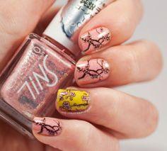 Cherry blossoming nails EDM05 Emily de Molly stamping Estessimo Tins nail polish