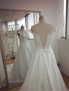 Back view of new handmade off-shoulder bridal dress ~ Love the lace sewing details~