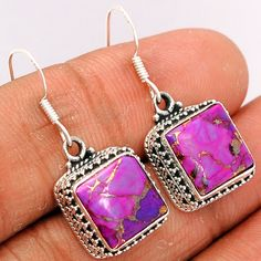 Copper Purple Arizona Turquoise 925 Sterling Silver Earrings Jewelry PCTE1066 - JJDesignerJewelry