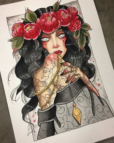 Finished! Had so much fun painting this, will be looking at getting prints of this one made sometime soon #girl #female #gypsy #witch #flower #flowers #flowercrown #peony #peonies #crystal #crystals #pendulum #citrine #pearls #mandala #madalaflower #henna #hennatattoo #moon #crescent #crescentmoon #rose #stars #tattoo #tattoos #unalome #painting #watercolour #art #artist