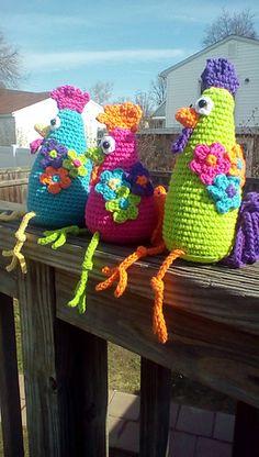 Ravelry: Funky Chicken Trio pattern by Vicki Blizzard Crochet Headband Free, Crochet Chicken, Easter Crochet Patterns, Easter Toys, Educational Toys For Toddlers, Crochet For Kids, Crochet Animals, Crochet Projects, Crochet Ideas