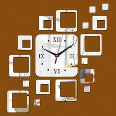 2015 venda direta promoção acrílico relógio de parede 17 quadrados de quartzo espelho moderno decoração diy adesivos freeshipping alishoppbrasil