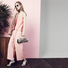 J.Crew Collection cropped Eisenhower shirt-jacket, Collection cashmere swing tank top, Collection cropped linen pant, Collection woven raffia tie-front high-heel sandals, Banago™ Mayumi clutch and Illesteva™ for J.Crew Leonard sunglasses in pink tortoise.