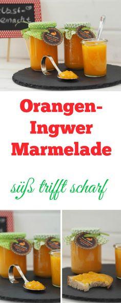 Leckere Orangen-Ingwer Marmelade mit etwas Karotte. Sooo lecker, ich habe selten eine so tolle Kombination gegessen. Scharf trifft süß. Einzigartig.  Mit dem Thermomix hergestellt, geht aber natürlich auch ohne.