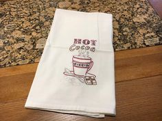 kitchen towel, hand embroidered, vintage style, hot chocolate