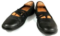 Clarks Mary Jane Loafers Solid Black Leather Slip On Shoes Womens Size 11 M #Clarks #MaryJanes #Casual