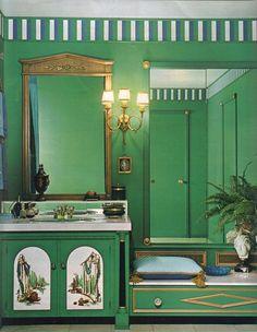 16 mod interior designs from 1968 - Retro Renovation Colorful Kitchen Decor, Retro Home Decor, Living Room Green, Green Rooms, Green Bathroom Accessories, Retro Interior Design, Interior Ideas, Retro Renovation, World Of Interiors