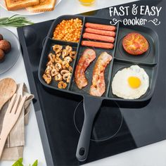 You can now cook several meals in the same pan at the same time without mixing flavours or food, thanks to the Fast & Easy Cooker 5 in 1 non-stick pan! This original and practical pan is a must for your kitchen! Aluminium pan with 5 compart. Glass Ceramic, Aluminum Pans, Biotin Shampoo, Buy Kitchen, Kitchen Tools, Easy, Non Stick Pan, Bons Plans, The Originals