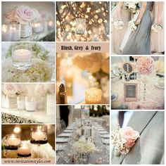 Blush,grey and ivory wedding color combintations for 2014 wedding color trends