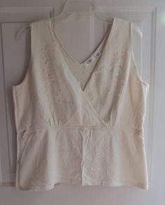 Cato Woman Halter Top Shirt w/ Beads and Sequins Cream / Beige 2X / 18W / 20W #Cato #Halter