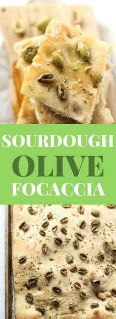 Sourdough Focaccia Bread recipe with olives and fresh rosemary. Artisan Bread Recipes, Easy Bread Recipes, Baking Recipes, Starter Recipes, Drink Recipes, Muffin Recipes, Yummy Recipes, Rosemary Recipes, Olive Recipes