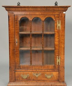 G. Beshore At Tall Chimneys Custom Tiger Maple Hanging Cabinet With S.