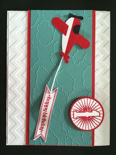 Happy 1st Birthday Airplane Card Using Stampin' Up! Blue Ribbon and Itty Bitty Banners Stamp Sets/ www.stampinwithlinda.com