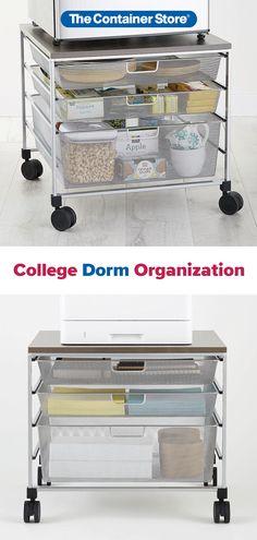 Find dozens of college dorm kitchen, bathroom, closet, desk, makeup, and jewelry storage solutions here!