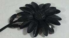 BLACK JAPPANED SUNFLOWER, Large Brooch, Mourning Jewelry, Costume, Bold by UptownJunkBoutique on Etsy