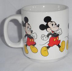 Vintage Disney Mickey Mouse Mug Coffee Tea Cup Mickey Walking White