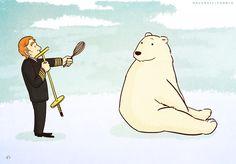 """""""Attention, mes amis, regardez-vous le bear polar!"""" (Cabin Pressure """"""""Qikiqtarjuaq"""" Series 3, Episode 1)"""