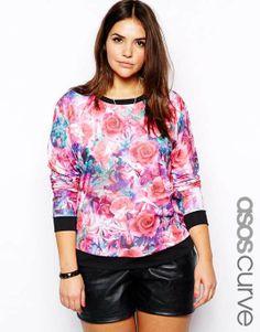 ASOS CURVE | Sweatshirt In Bright Digital Floral #asoscurve #sweatshirt