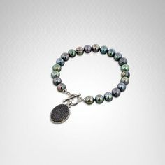 Honora Sterling Silver 7-8mm Black Round Ringed Freshwater Cultured Pearl with Black Agate Druzy 7.5 in. Toggle #Bracelet