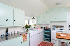 Mincovna-zelená-kuchyňská-kuchyňská-střední-století-s-uzavřené-kuchyně