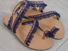 Handmade Ladies Greek Leather Sandals Boho Style Decorated Dark Blue Fringe Size 39 EU Flat Shoe by LindosArtGallery on Etsy