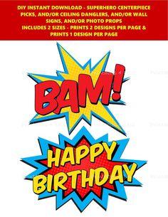 Superhero Centerpiece, Superhero Party Decorations, Superhero Theme Party, Party Themes, Superhero Party Supplies, Diy Party Supplies, Colorful Centerpieces, Party Centerpieces, Dangler Design