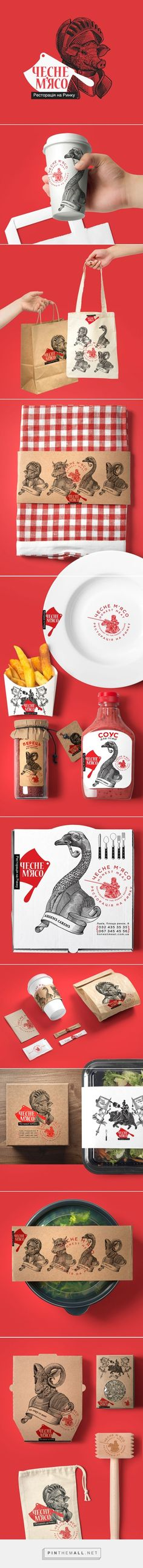 Honest Meat on Behance by Yaroslav Shkriblyak, Ivano-Frankivsk, Ukraine curated by Packaging Diva PD. Odd but visually interesting packaging branding for meat restaurant in Lviv. Art direction, branding, Illustration.