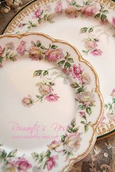 Limoges Victorian platter and smaller plates, with hand painted pink roses on yellow background, and scalloped edges trimmed in gold, ca 1900. Description from pinterest.com. I searched for this on bing.com/images