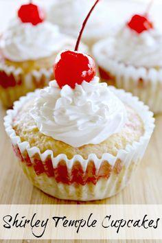Life With 4 Boys: Shirley Temple Cupcakes Cupcake Icing Recipe, Cupcake Recipes, Cupcake Cakes, Dessert Recipes, Cupcake Ideas, Dessert Ideas, Valentine Cake, Yummy Cupcakes, Christmas Treats