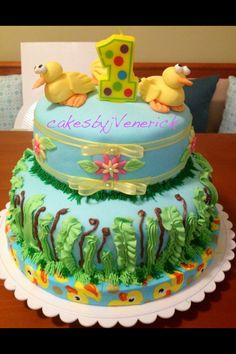 Duck theme cake Fondant and icing Chocolate melts