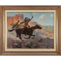 """Herbert Herget (1885-1950) The Raider 20"""" x 26"""" oil on canvas Signed lower right Verso: Titled on upper left stretcher bar (est. $2,000-3,000)"""